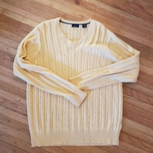 Vintage IZOD V Neck Cable knit sweater